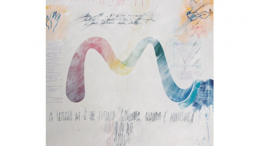 "Lorenzo Marini ""Type Visual m"" mixed media on canvas with dedication - 100x100 cm"