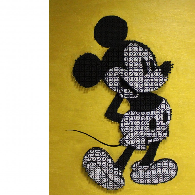 """Drill Monkeys Art Duo """"Mickey Mouse Gold"""" - acrylic on 3500 self-tapping screws - 61x81x8cm"""
