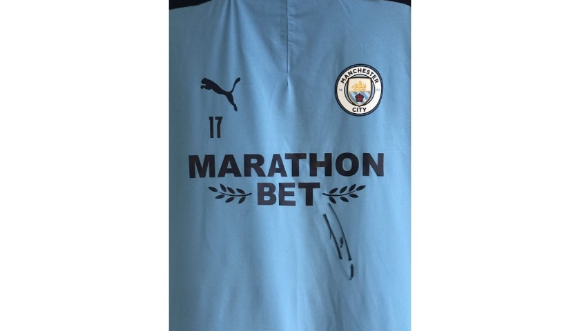 De Bruyne's Worn Manchester City Signed Training Top