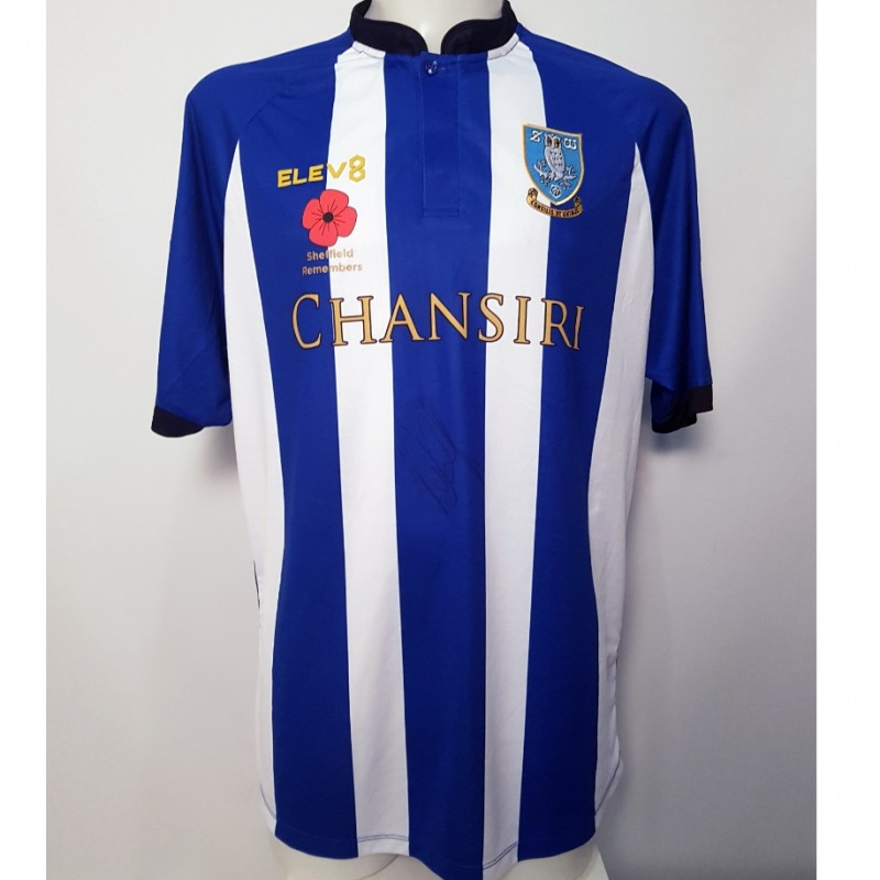 Adthe Nuhiu's Sheffield Wednesday Worn and Signed Poppy Home Shirt