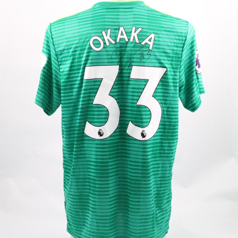 Okaka's Watford FC Issued and Signed Away Poppy Shirt