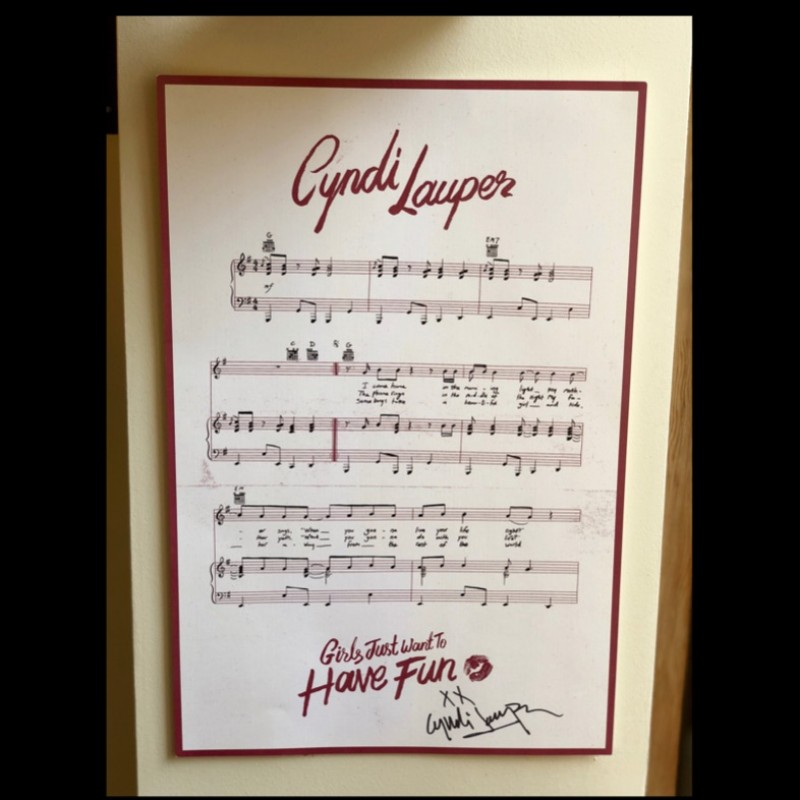 """Girls Just Want to Have Fun"" Lyrics Hand Signed by Cyndi Lauper"