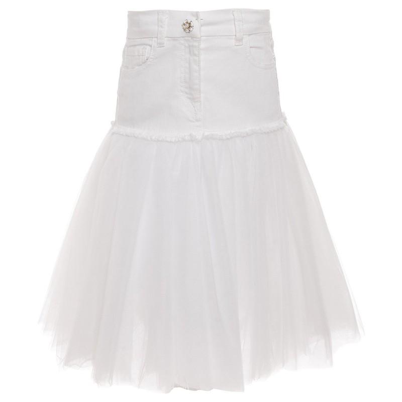Monnalisa White Girls Puff Skirt and Top