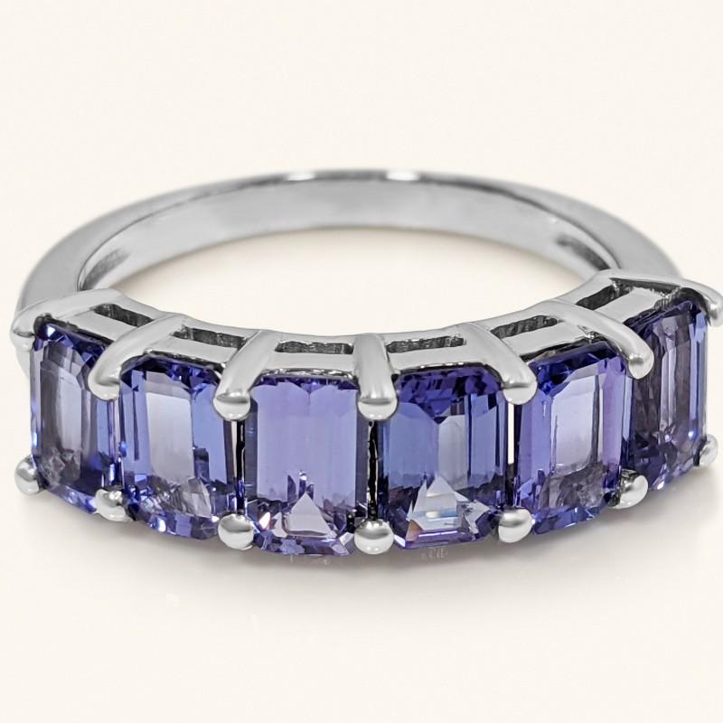 Natural Emerald Cut Tanzanite Ring - 14K White Gold