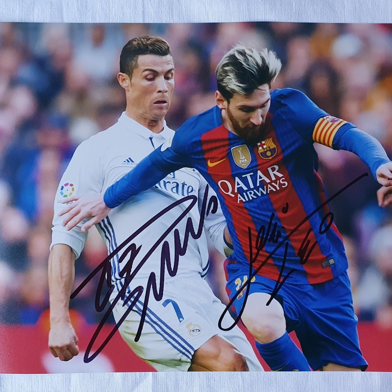 Photograph Signed by Lionel Messi and Cristiano Ronaldo