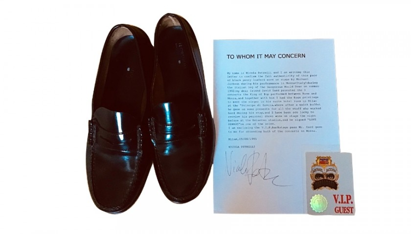 Michael Jackson's Worn and Signed Moccasins - Monza 1992