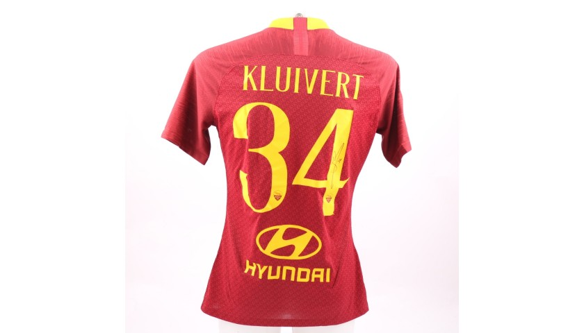 Kluivert's Worn and Signed Shirt, Roma-Genoa 2018