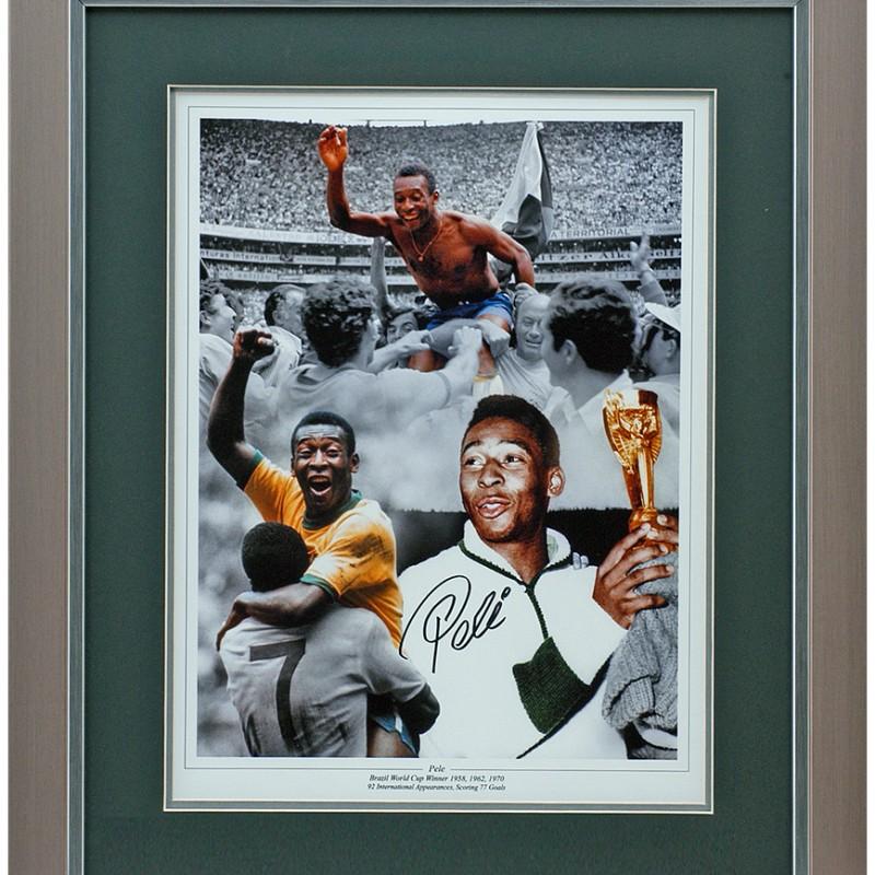 "Pelé Hand Signed 16""x12"" Montage"