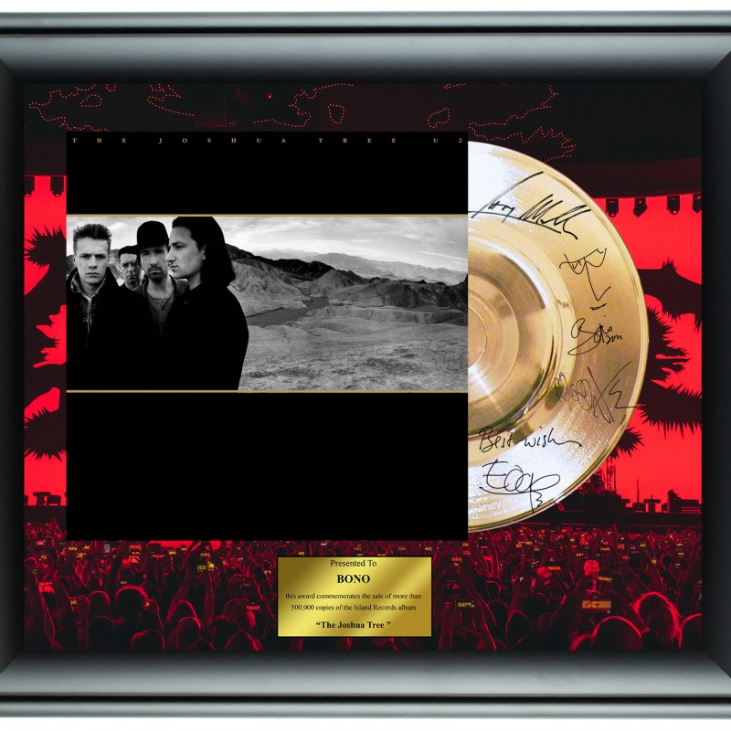 Bono U2 Custom Framed Gold Record Display