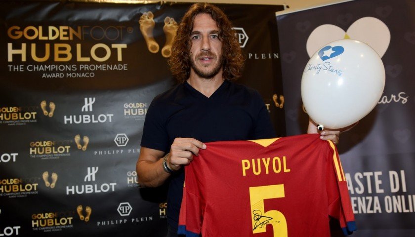 Official 2013 Spain Shirt Signed by Puyol
