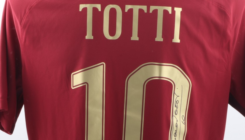 Totti Special Match Worn Shirt, Rome Derby 4/12/16 - Signed
