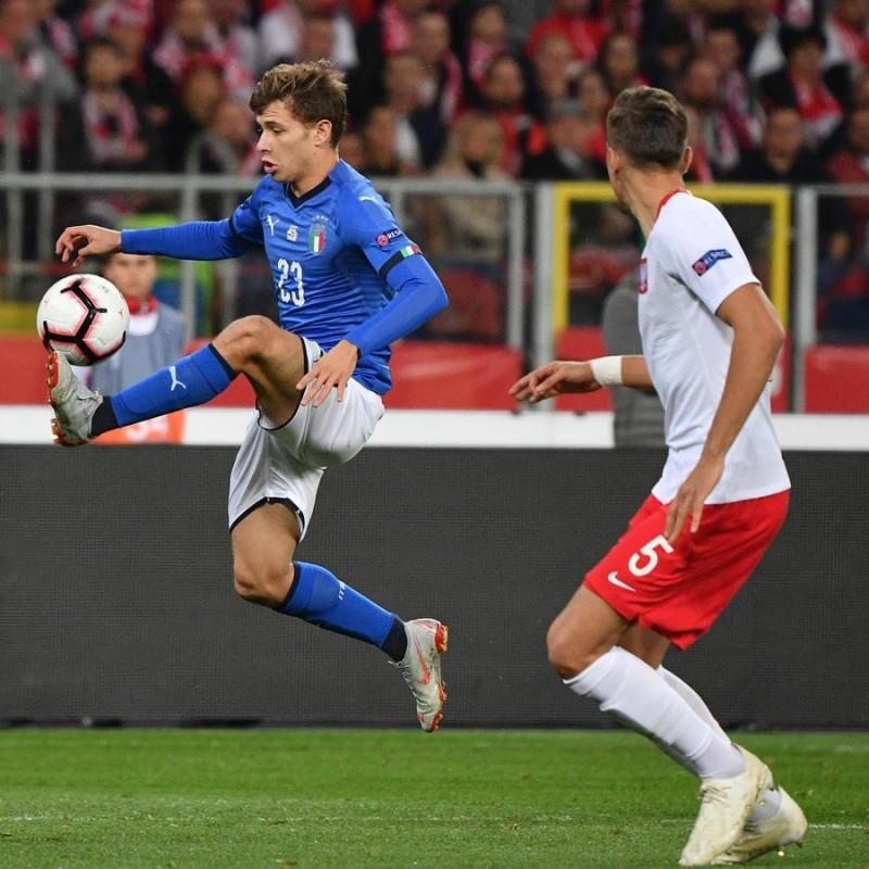 Barella's Match-Issue/Worn Shirt, Poland-Italy 2018