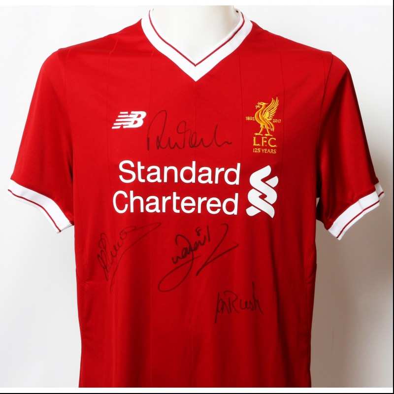 "Official LFC 125 ""Strikers"" Shirt Signed by Aldridge, Rush, Owen and Fowler"