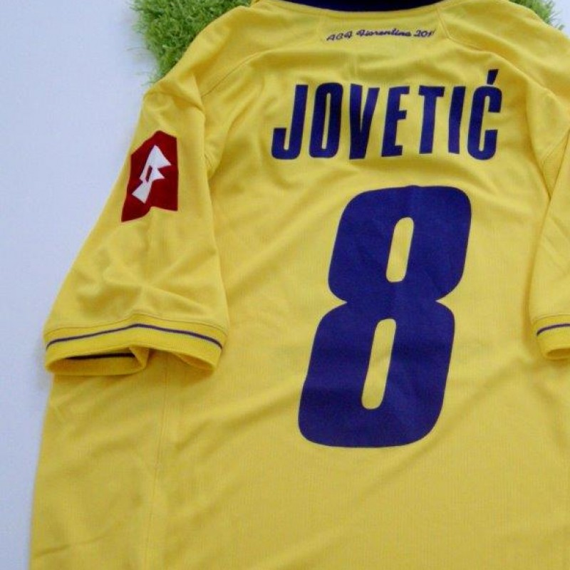 Fiorentina match issued/worn shirt by Jovetic, Serie A 2011/2012