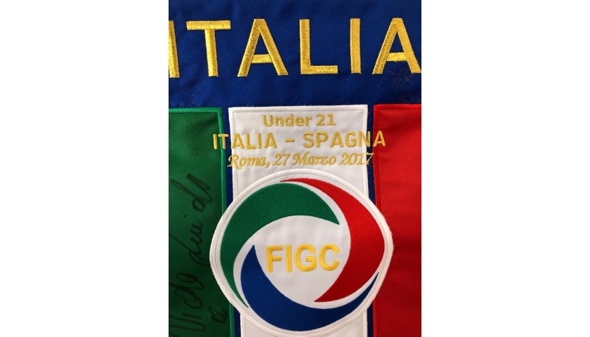 Official Pennant Italy-Spain 2017 - Signed by Zaniolo