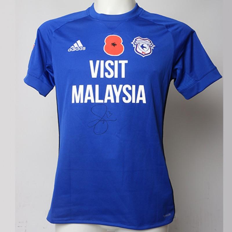 Poppy Shirt Signed by Cardiff City FC's Anthony Pilkington