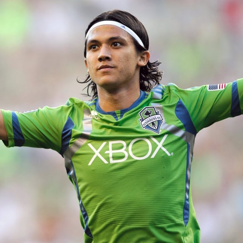 Montero Worn and Signed Seattle Sounders Shirt, 2012