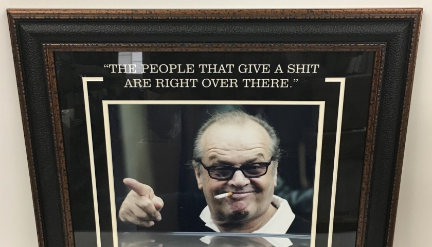 """The People that Give a Shit are Right Over There"" Vintage Photograph Signed by Jack Nicholson"