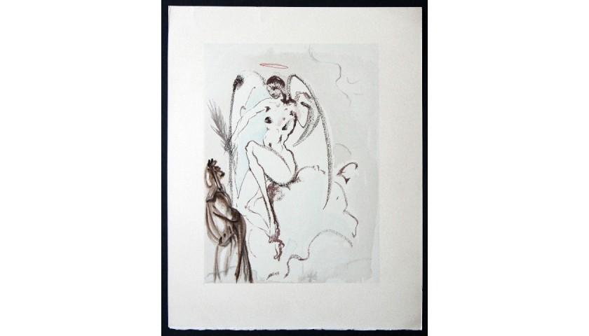"""Original Board by Salvador Dalì - """"Gli Angeli Fedeli"""" Paradiso Canto XXIX"""