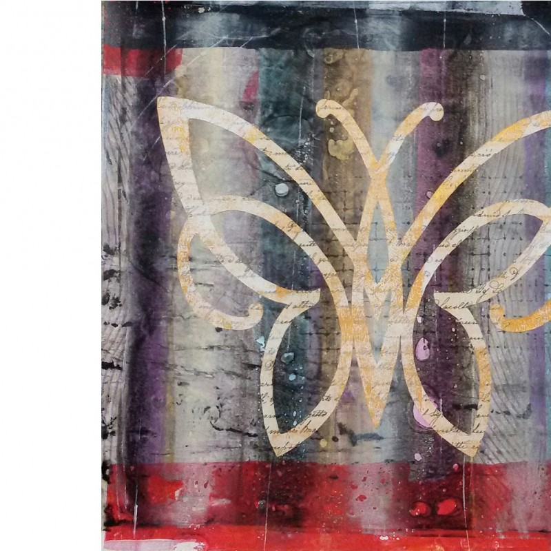 """""""Butterfly"""" - print with acrylic colors and collage by L. Androvandi - 50x50 cm"""
