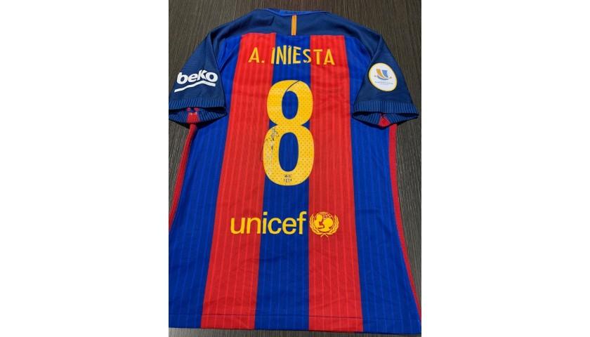 Iniesta's Barcelona Signed Match Shirt, Supercopa 2016 Final