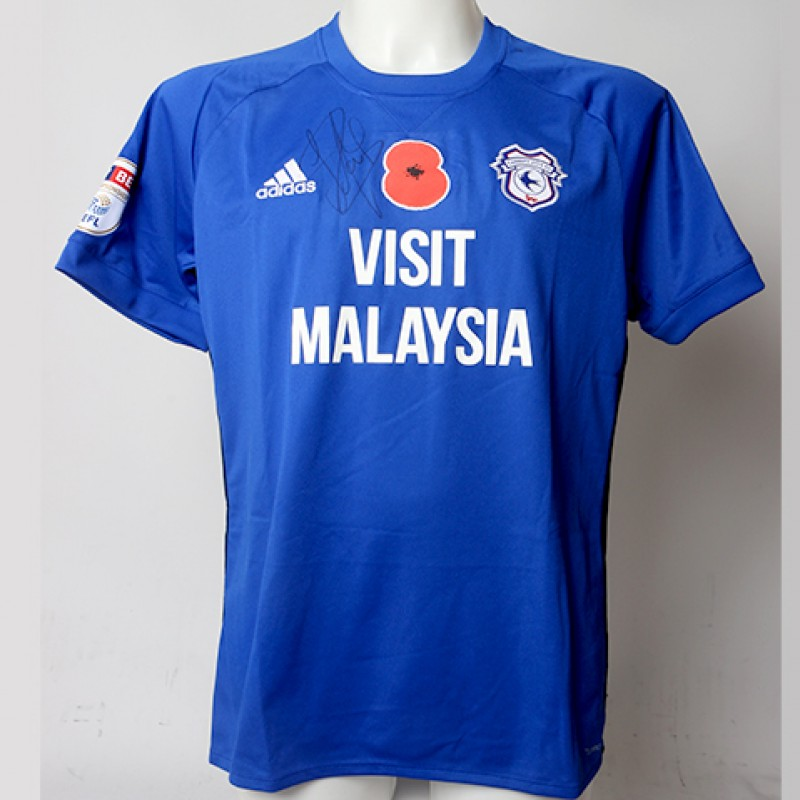 Poppy Shirt Signed by Cardiff City FC's Sean Morrison