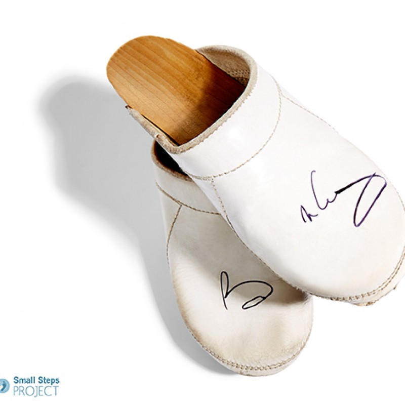Brian May's Autographed White Clogs from his Personal Collection
