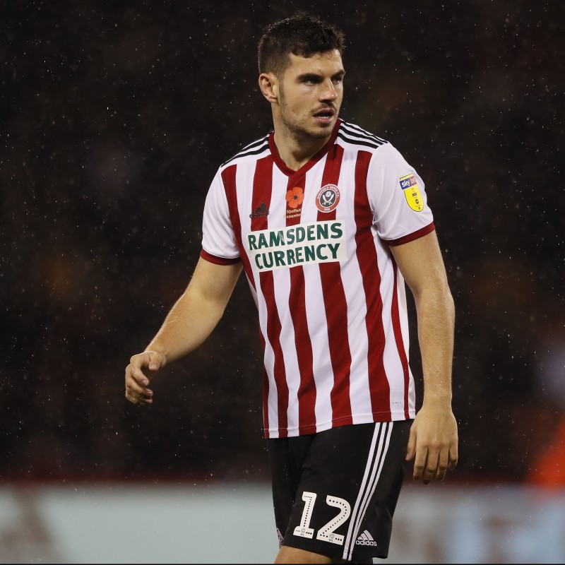 John Egan's Sheffield United Worn and Signed Poppy Home Shirt