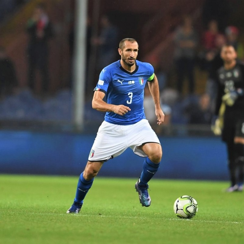 Chiellini's Italy Signed Match Shirt - Special Patch Genova