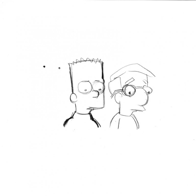 The Simpsons - Original Drawing of Bart Simpson & Milhouse Van Houten