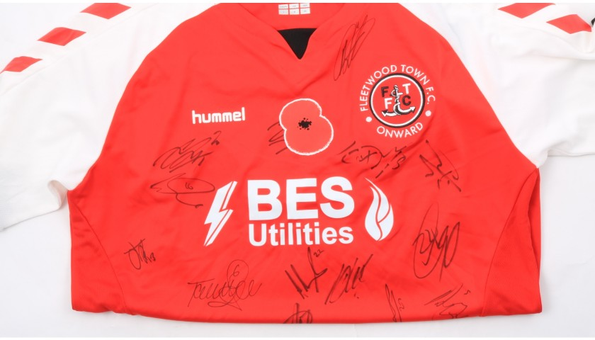Fleetwood Town Official Poppy Shirt Signed by the Team
