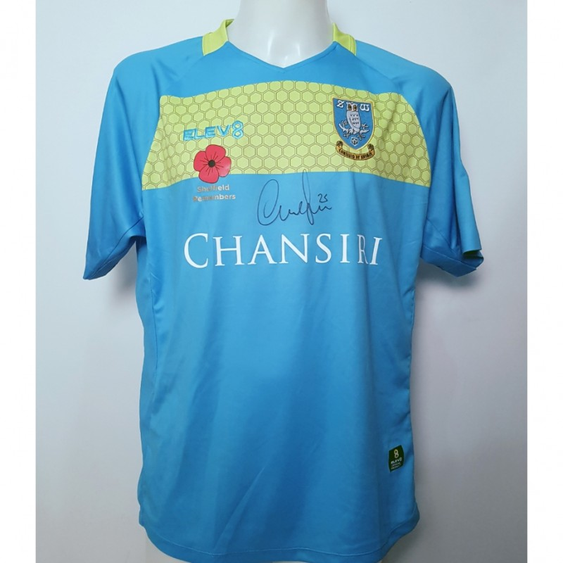 Cameron Dawson's Sheffield Wednesday Worn and Signed Poppy Home Shirt