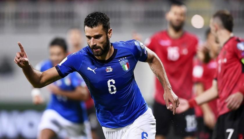 Candreva's Match-Issue/Worn Albania-Italy Signed Shirt