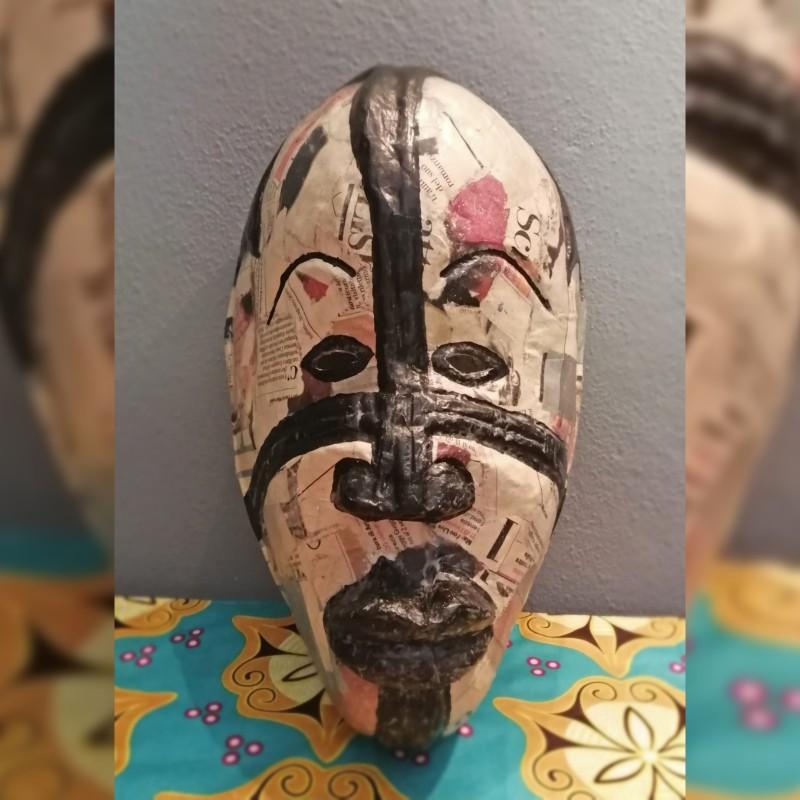 """""""Chef du village - Newspaper"""" - Togo Traditional Mask"""