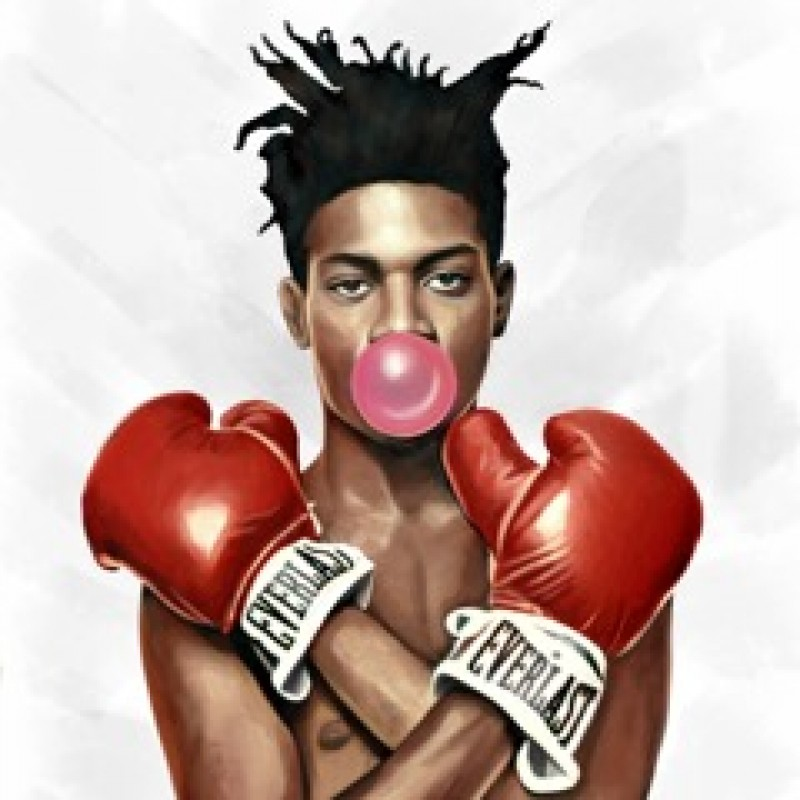 """Jean-Michel Basquiat blowing bubbles"" di Thomas Hussung"