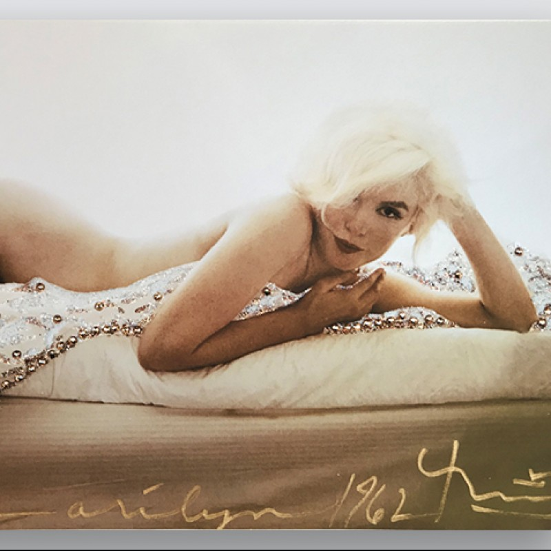 """Signed Marilyn """"Baby on the Bed"""" Print by Bert Stern"""
