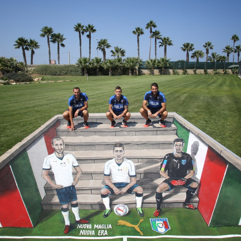 3-D Work of Art by Street Artists Joe and Max, Autographed by Buffon, Verratti and Chiellini