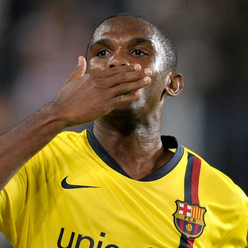 Eto'o's Signed Match-Issued/Worn 2008/09 Barcelona Shirt