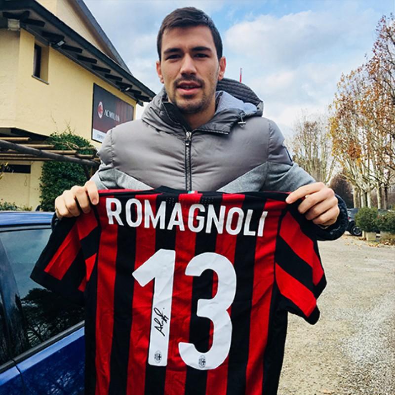 Romagnoli's  Match Worn Milan Shirt, 2017/18 - Signed