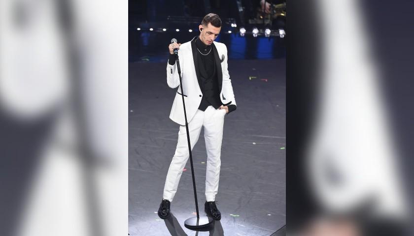 Carlo Pignatelli White Tuxedo Worn by Italian Rapper Achille Lauro at Sanremo Festval