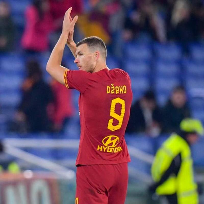 Dzeko's Worn and Signed Shirt, Roma-SPAL 2019