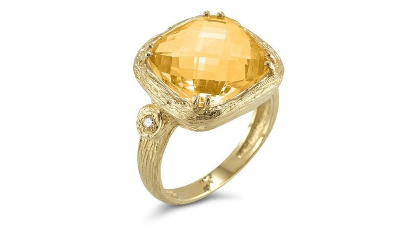 Reiss 14K Yellow Citrine & Diamond Ring