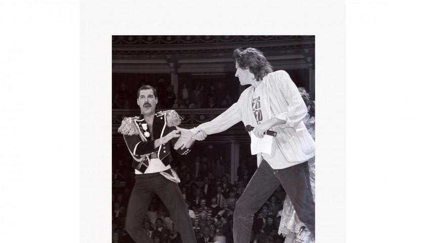Limited edition print of Freddie Mercury and Sir Bob Geldof by photographer Alan Chapman.
