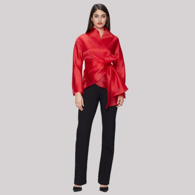 Jackie Rogers Red Satin Blouse