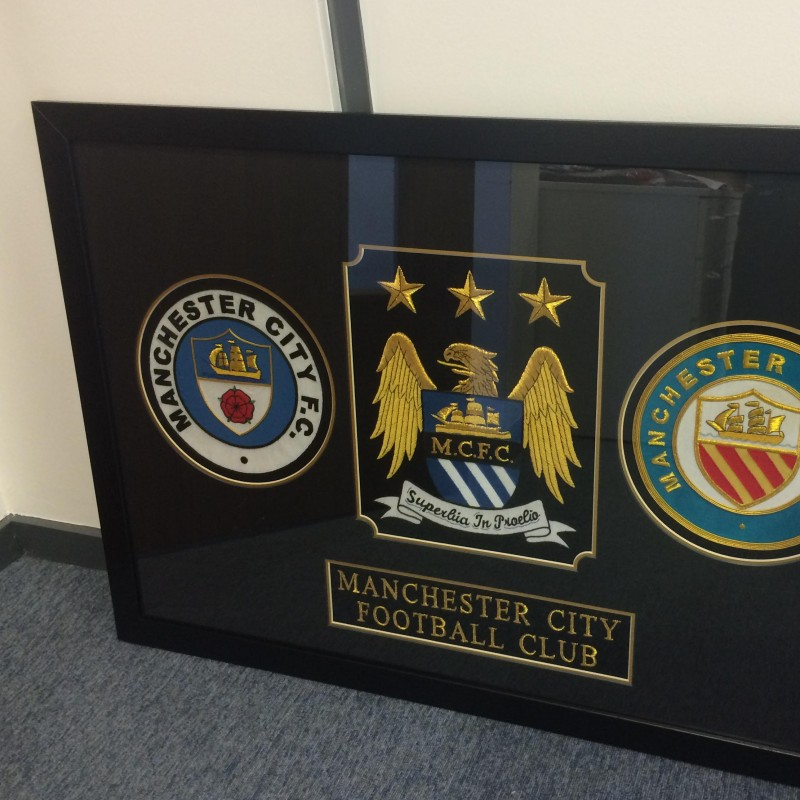 Framed Manchester City Football Club Crests