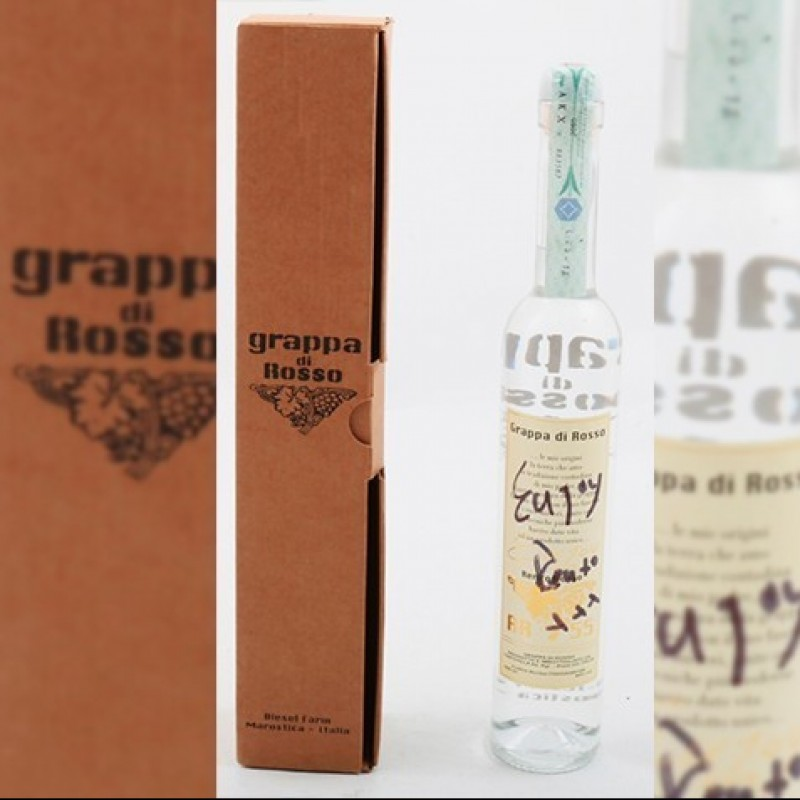 "Exclusive Bottle of ""Grappa di Rosso"" Signed by Renzo Rosso"