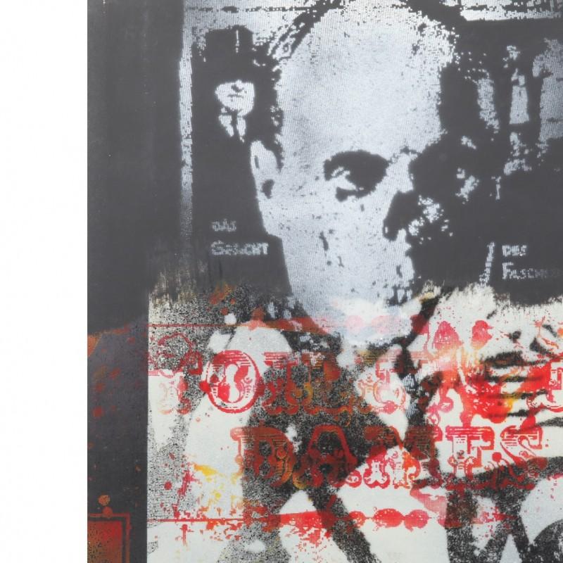 """Paolo Baratella """"Benito Mussolini, Storia del fascismo"""" acrylic and mixed media on canvas"""