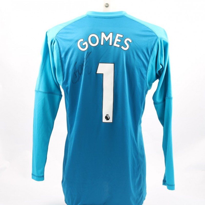 Gomes' Watford FC Issued and Signed Away Poppy Shirt