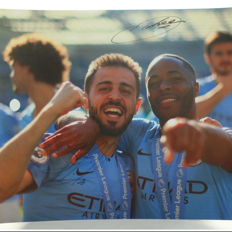 """Bernardo Silva & Raheem Sterling celebrating at Brighton"" Signed Picture"