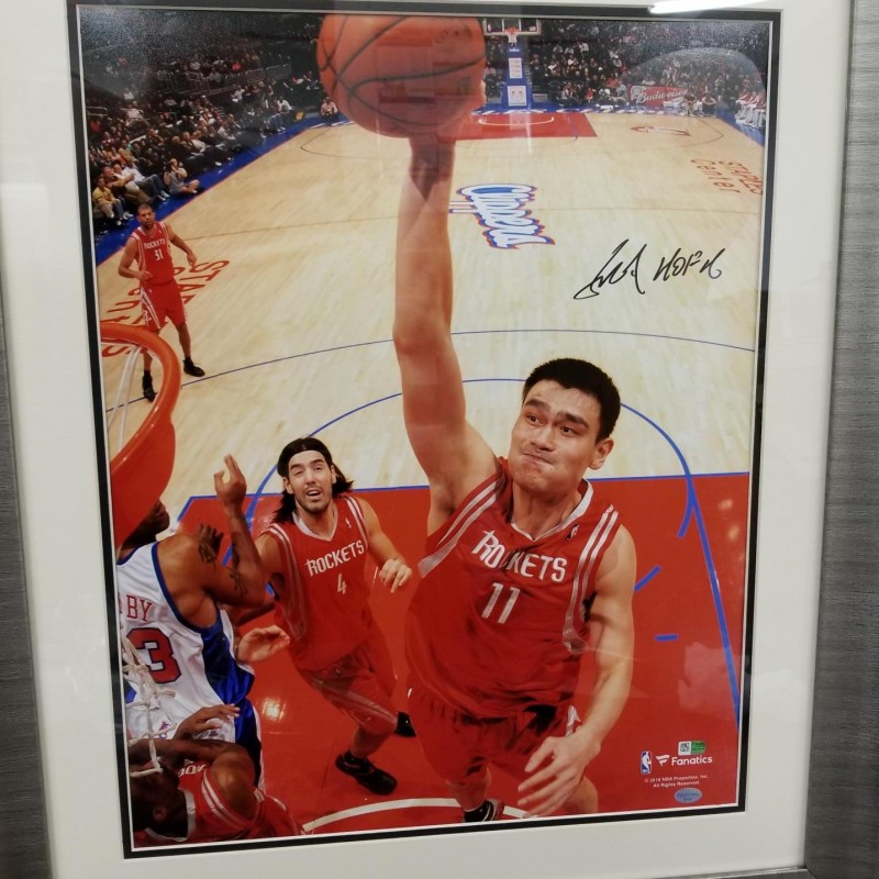 Yao Ming Signed and Framed Dunking Photo